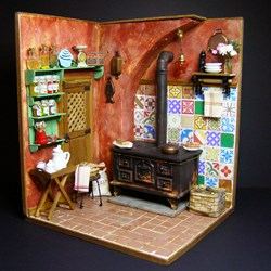 "Roombox 1:12. ""Cocina antigua"" - One-Inch Roombox. 'Old Kitchen'"