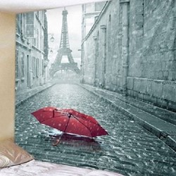 Fabric Wall Tapestry/Throw Paris in the Rain