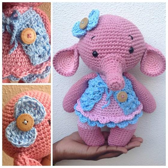 Muñeco Elefante rosa - Amigurumi - Muñeco de peluche en www.artama.es | 560x560