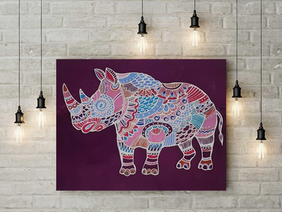 Pintura de Batik Rinoceronte. Beautiful Rhino Batik. Art for home. Free delivery