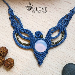 Collar piedra luna. Collar macrame. Joyas piedra luna. Tribal necklace. Handmade
