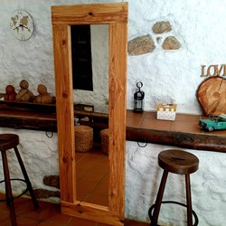 Espejo rustico de pared decapado, wood mirror, espejos de cuerpo entero, wood solid products,