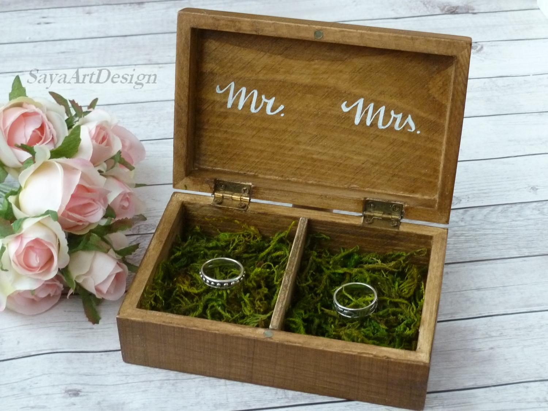 Caja de anillo de madera hecha a mano joyero peque/ño caja de anillos /única