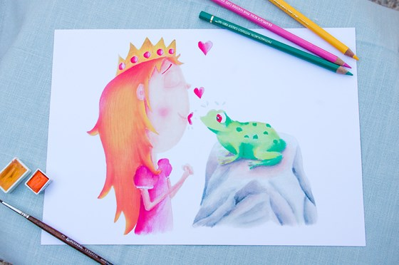 Frog and princess Din A4