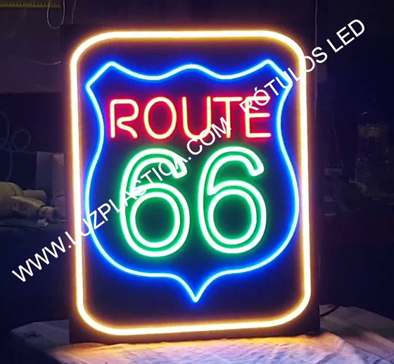 Rótulos neón led-cristal  ROUTE 66   CARTEL ROUTE 66