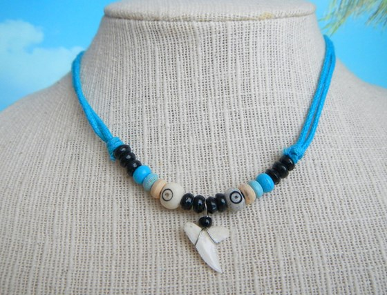 Collar Diente Tiburón Surf Cordón Turquesa Shark Tooth Necklace