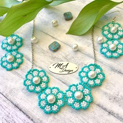 Free shipping! Floral romantic set, romance, necklace, earrings, flowers