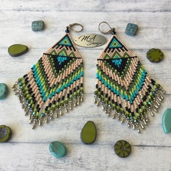 Free shipping! Native american earrings, long, unique, light, elegant