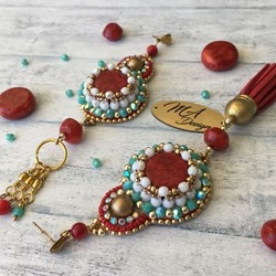 Free shipping! Coral and turquoise asymmetry earrings, branded, unique